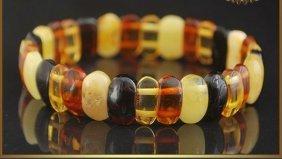 Natural Multi Color Amber Bracelet