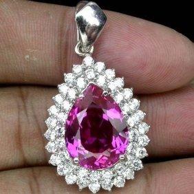 Natural Pink Topaz & White Sapphire Pendant