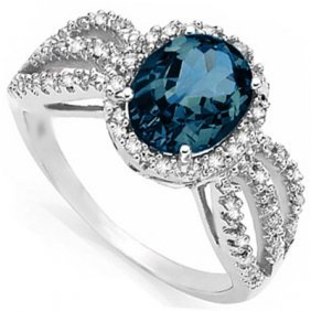 Natural London Blue Topaz Diamond & Solid Gold Ring