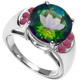 Natural Ruby & Green Mystic 6.11 Carats Ring