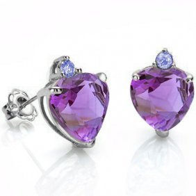 Natural Heart Amethyst & Tanzanite Solid Gold Earrings