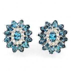 Natural London Blue Topaz & White Topaz Earrings
