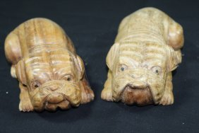 Hand Carved Wooden Bull Dog Puppies