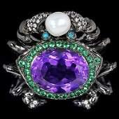 Natural Gemstone Black Crab Ring