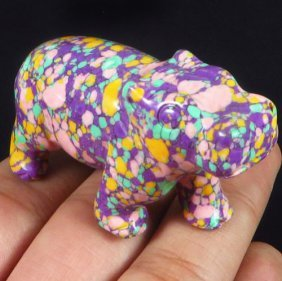 Hand Carved Colorful Turquoise Hippo