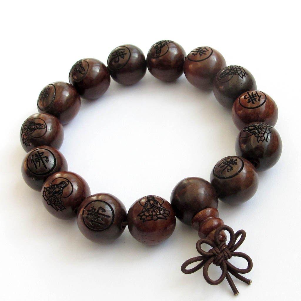 Natural Wood Buddhist Mantra Engraved Prayer Beads