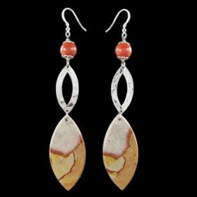 Natural Stone Diamond Polished Hand Made Earrings