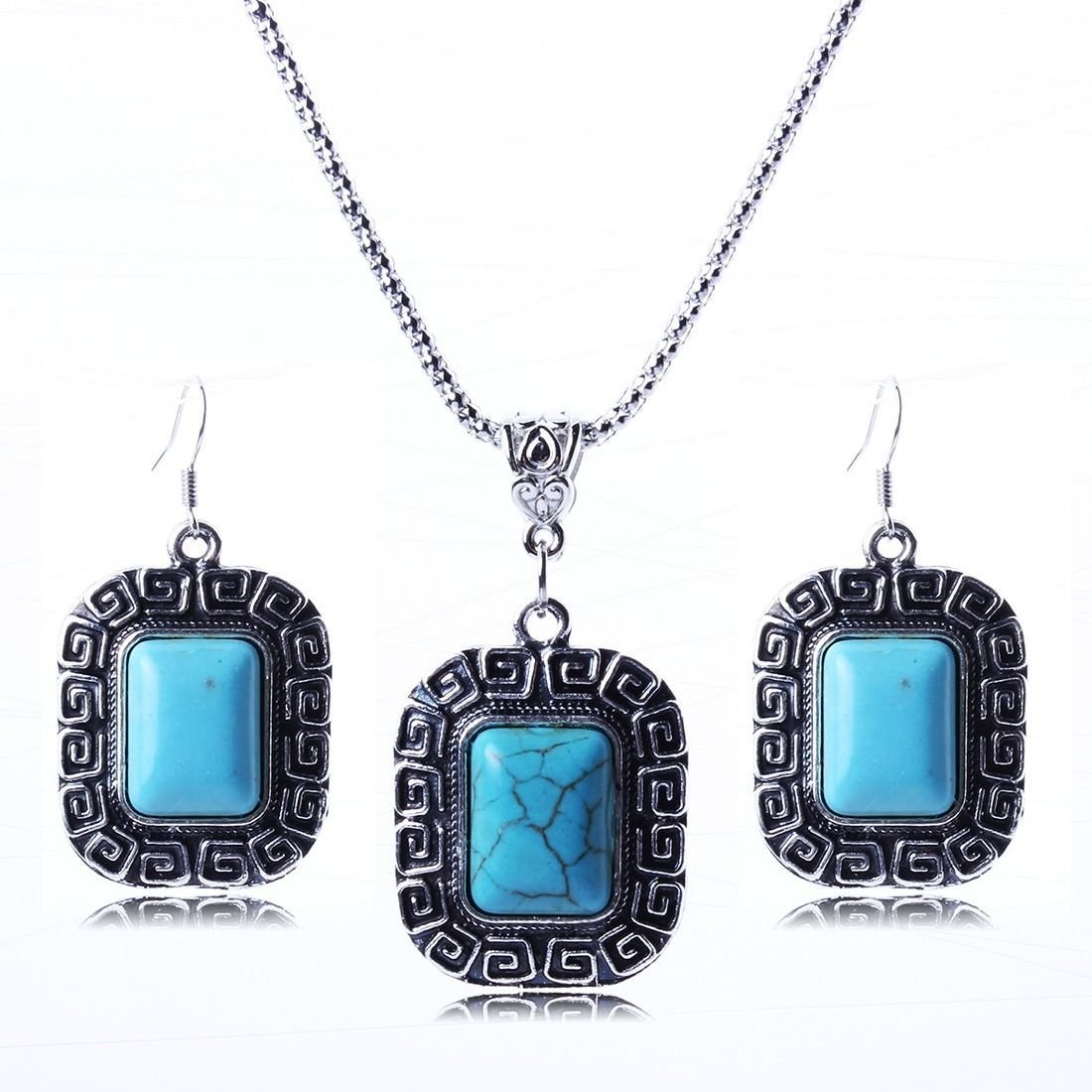 Turquoise antique silver chain pendant necklace Set