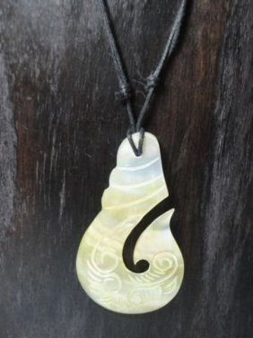 Hand Carved Necklace - Mother Of Pearl
