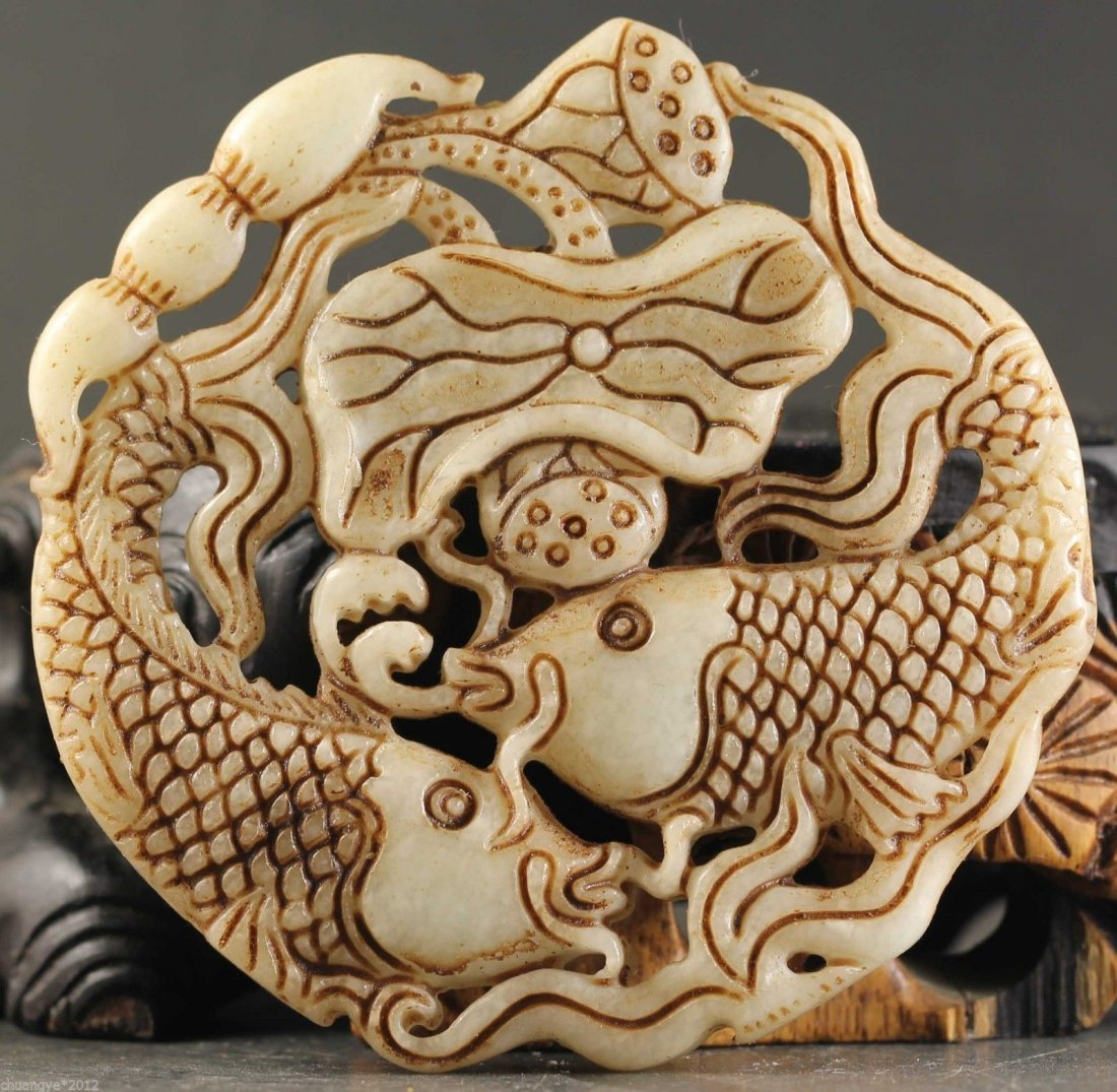 Old China Jade hand-carved Double Fish Pendant