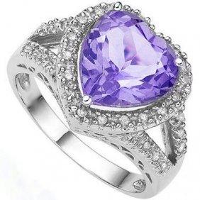 Natural Heart Amethyst & Diamond 3.16 Carats Ring