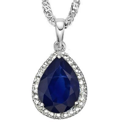 Natural Black Sapphire Diamond Solid Gold Pendant