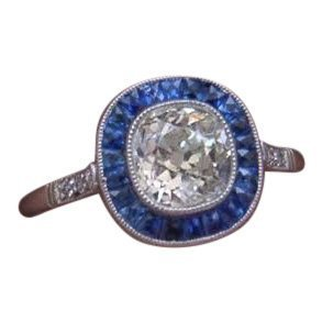 Natural White & Blue Sapphire Art Deco Style Ring