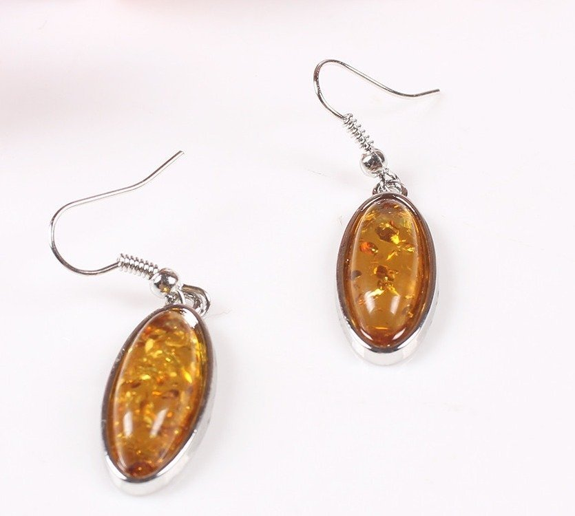 Amber Pendant Necklace & Earring Set - 2