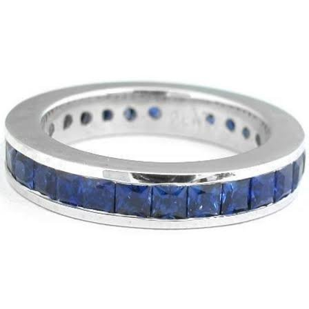 Natural Royal Blue Sapphire & Solid Gold Eternity Band - 2