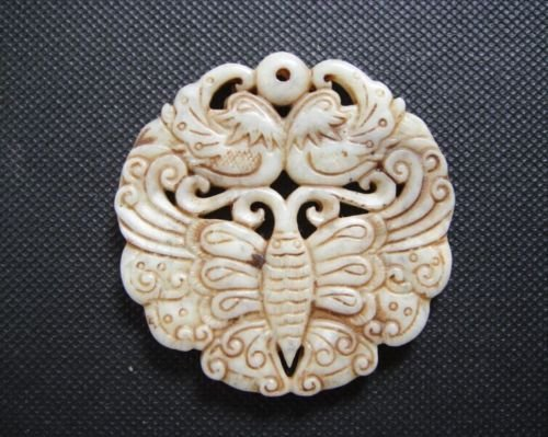 Old China Jade Mandarin duck and butterfly Pendant