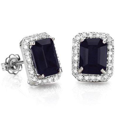 Natural Midnight Blue Black Sapphire & Diamond EarRing