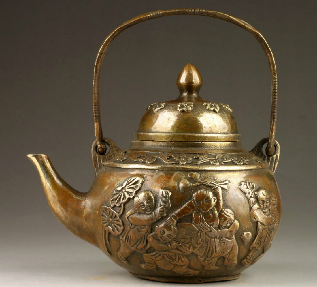 Antique Chinese Hand Made Copper Tea Pot