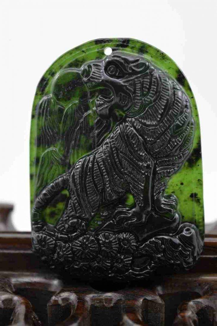 Natural Green Jade Tiger Pendant