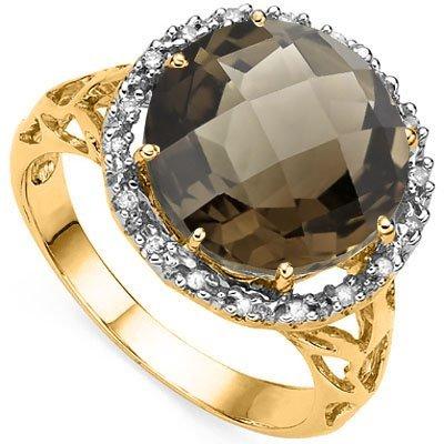 Natural Smoky Topaz & Diamond Ring
