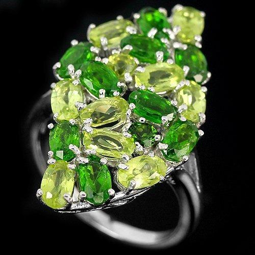 Natural Green Chrome Diopside & Peridot Ring