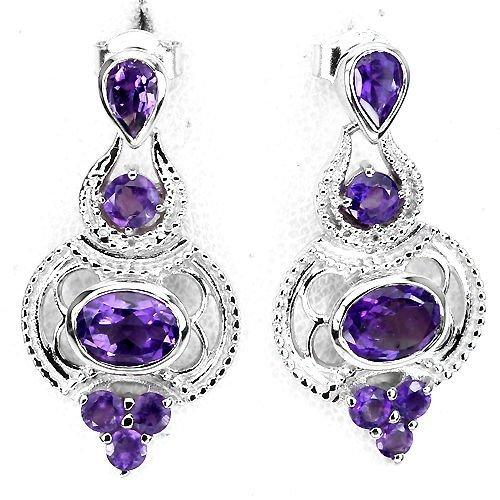 Natural Purple Amethyst Earrings