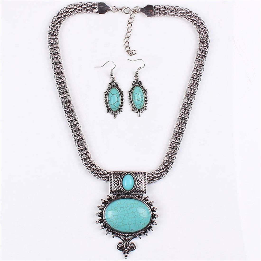 Tibet Silver & Blue Turquoise Necklace Set - 2