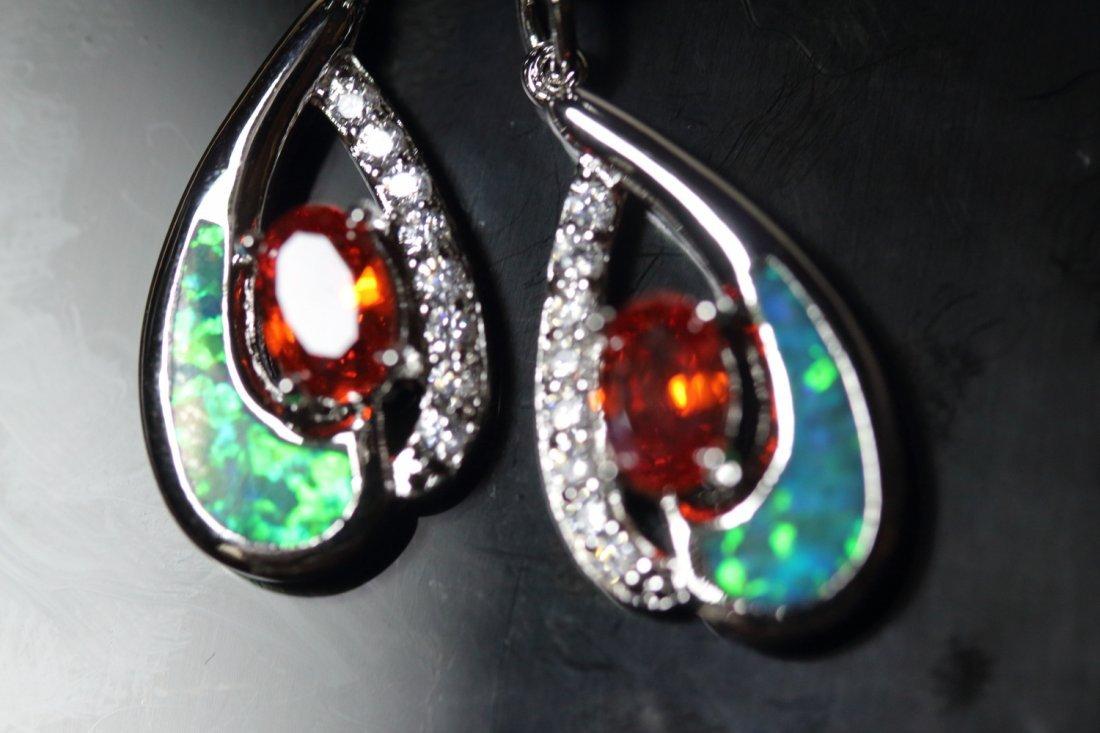 Stunning Fire Natural Opal & Spessarite Gems Earrings - 2