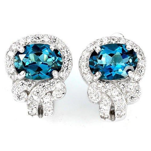 Natural London Blue Topaz Earring