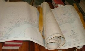 Assorted Admiralty Sea Charts, Bahama Islands, UK Etc.