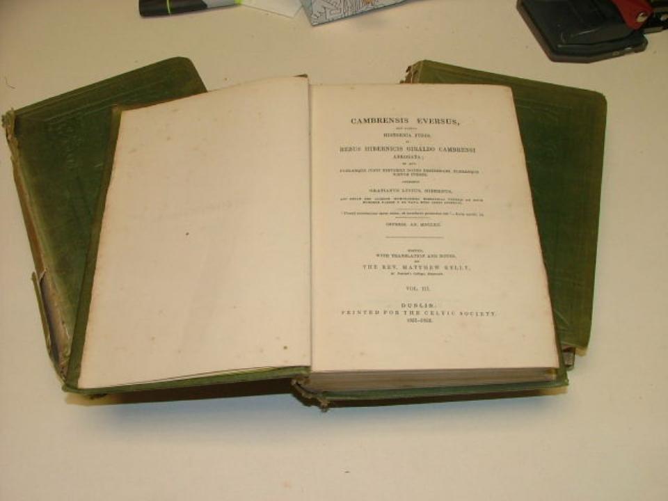 "Book Hard cover "" Cambrensis Eversus"" Vols 1,2 & 3 edit"