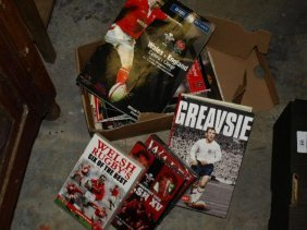 Lot of Welsh Rugby programmes & books, DVD's etc
