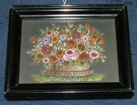 Framed 19th century micromosaic panel of a basket of fl