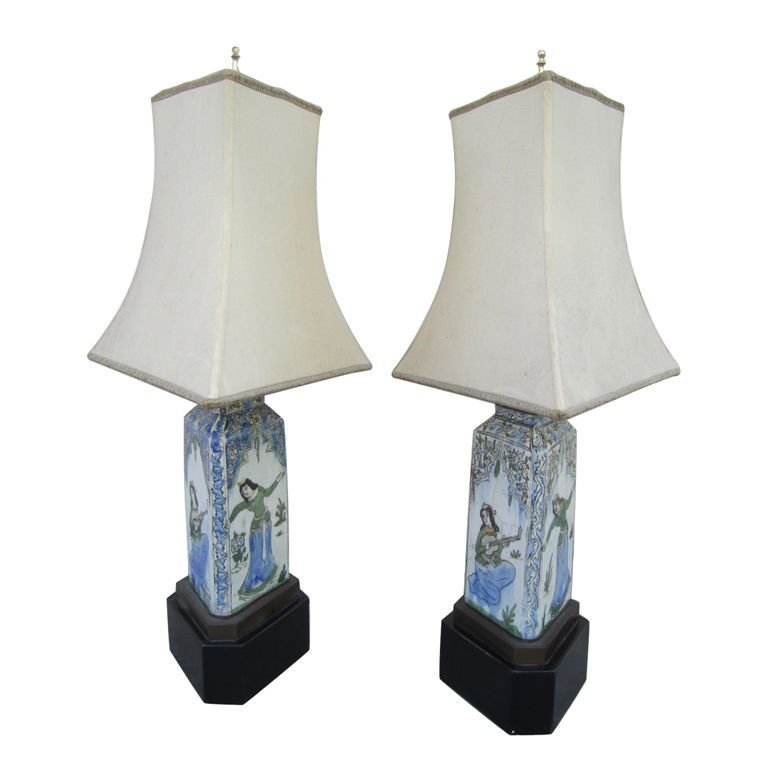 8: Pair of Indian Stoneware Lamps