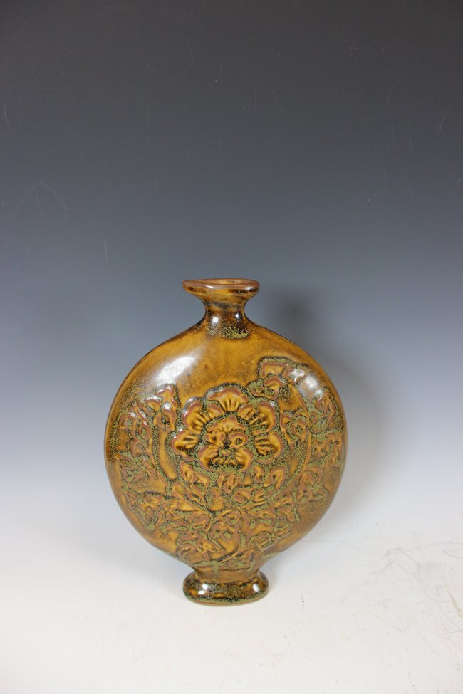 16: A BROWN-GLAZED MOON FLASK