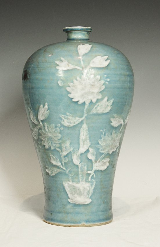 "23:  ""CHRYSANTHEMUMS AND PLUMS"" VASE"