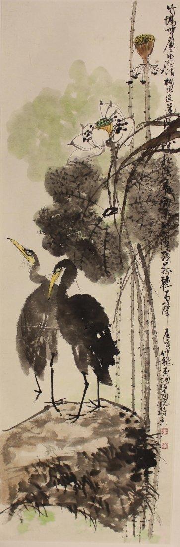 Flowers And Bird Hang Scroll  Signed By Hu Ben Xun