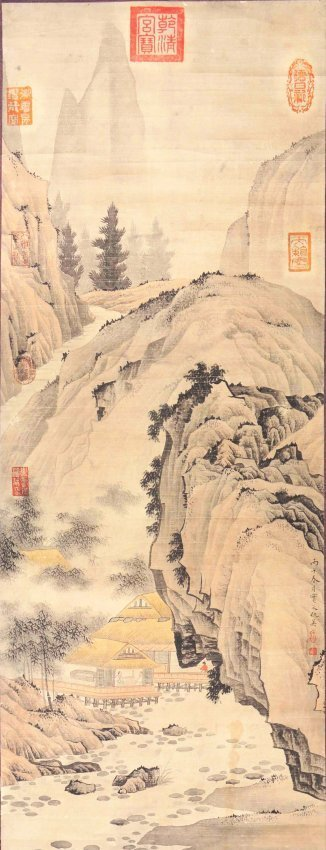 Chinese ink on Silk Scroll Painting