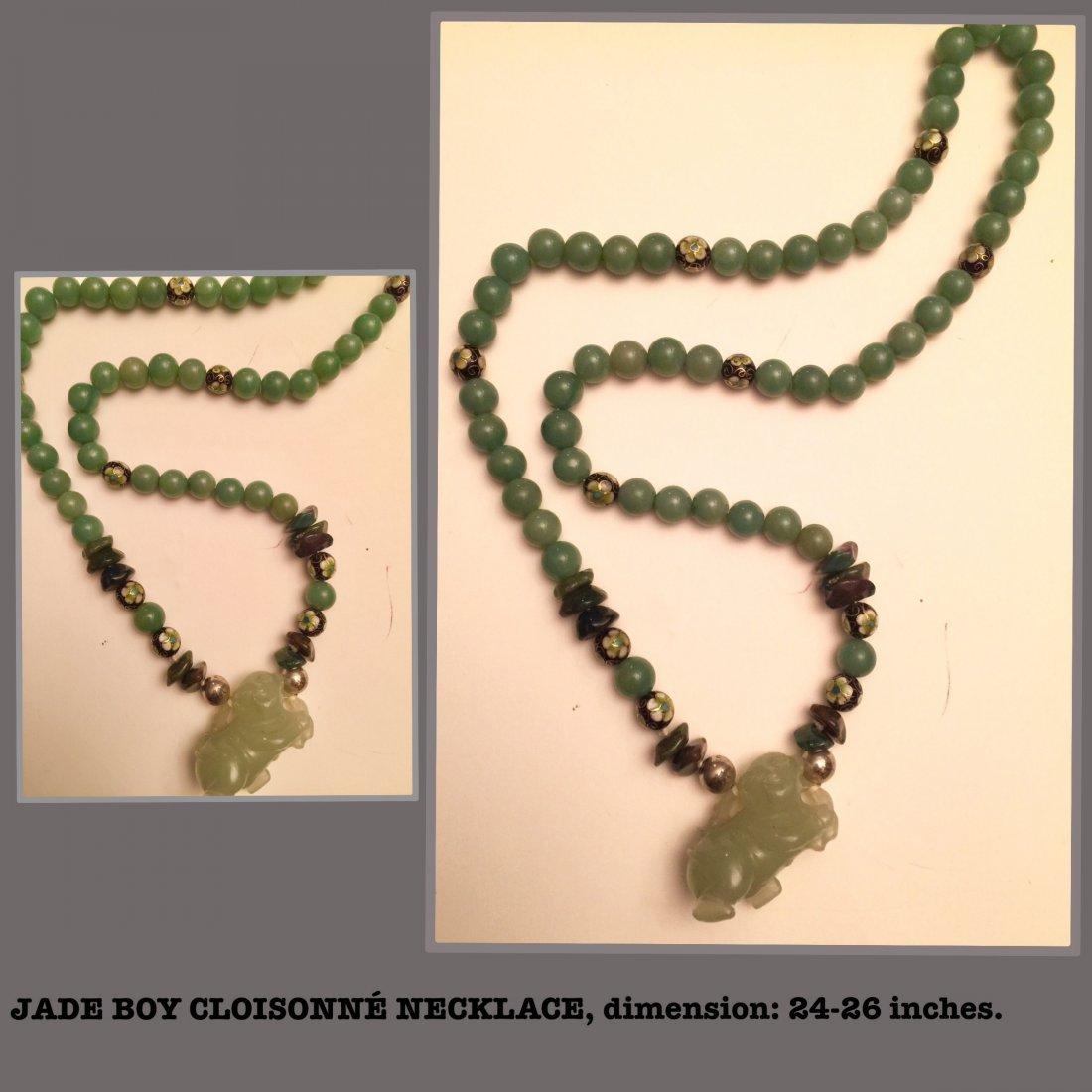 Jade Boy Figure Necklace, Estate Jewelry