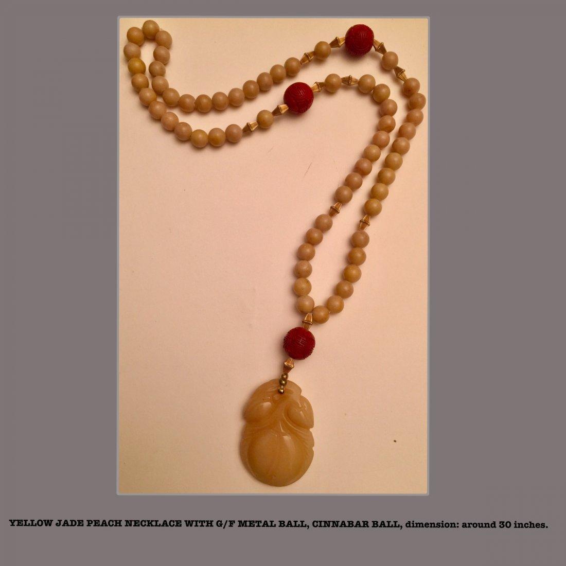 Yellow Jade Peach Necklace, Estate Jewelry