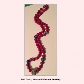 Red Coral Necklace, Estate Jewelry