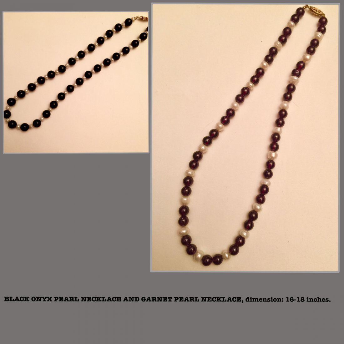 Black Onyx, FWP Necklace, 2 pieces Estate Jewelry