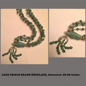Necklace w/Carved figure, triple strands