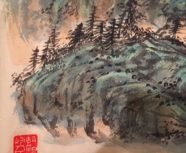 Chinese Paper Ink Wash Scroll Painting - 2
