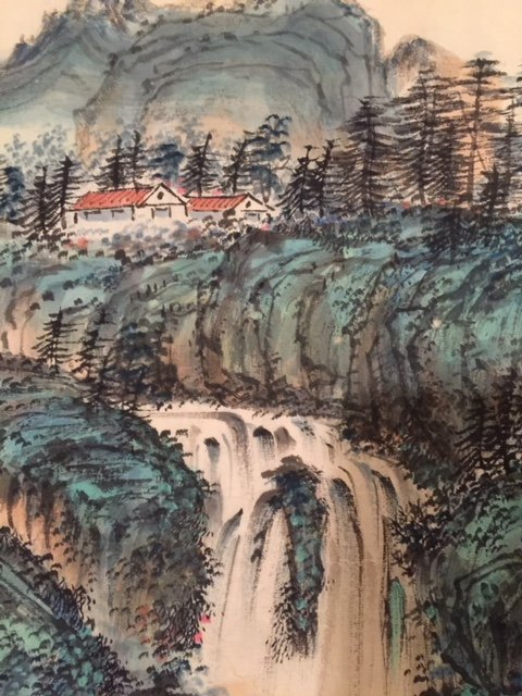 Chinese Ink on Paper Green Landscape Paintin - 2