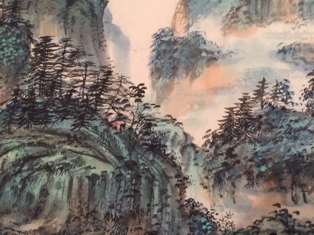 Chinese Ink on Paper Green Landscape Paintin - 3