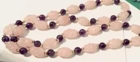 Rose Quartz Designed Necklace, Estate Jewelry