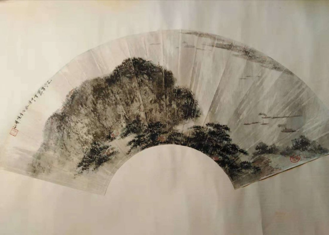 Chinese ink on Paper Fan Painting Scroll