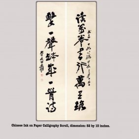 Chinese ink on Paper Scroll Calligraphy Couplets