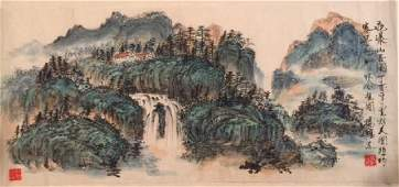 **Chinese Ink on Paper Green Landscape Painting